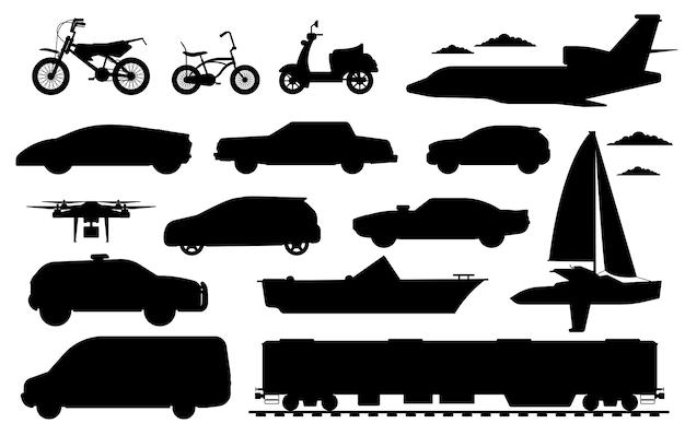 旅客輸送セット。公共、民間の乗用車のシルエット。孤立した車、鉄道、ドローン航空機、バン自動車、自転車、バイク自動輸送フラットアイコンコレクション、輸送 Premiumベクター