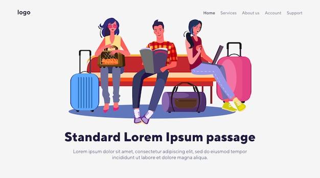 Пассажиры в аэропорту Бесплатные векторы