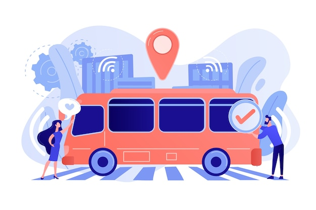 승객은 자율 주행 로봇 무인 버스를 좋아하고 승인합니다. 무료 벡터