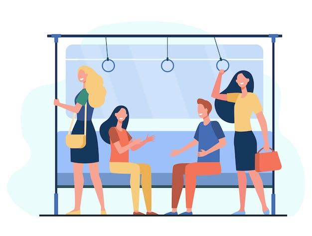 地下鉄で旅行する乗客。馬車に座って立っている都市の人々。チューブ、メトロ、輸送、通勤の概念のベクトル図 無料ベクター