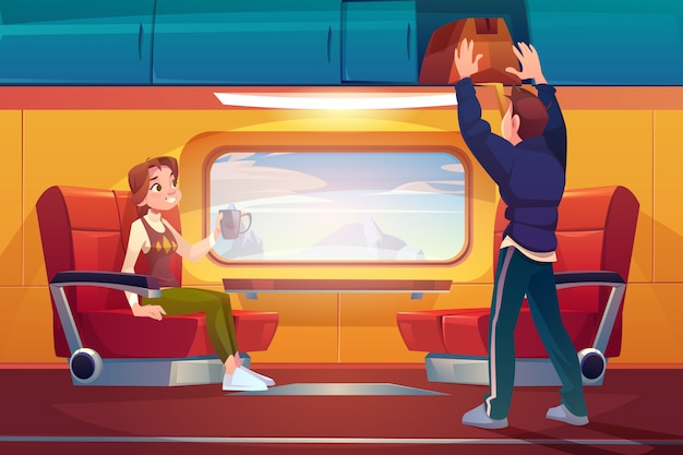 Passengers travelling by railway car Free Vector