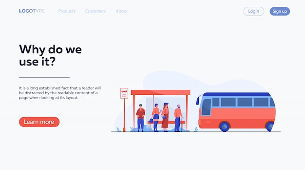 Passengers waiting for public transport at bus stop Free Vector