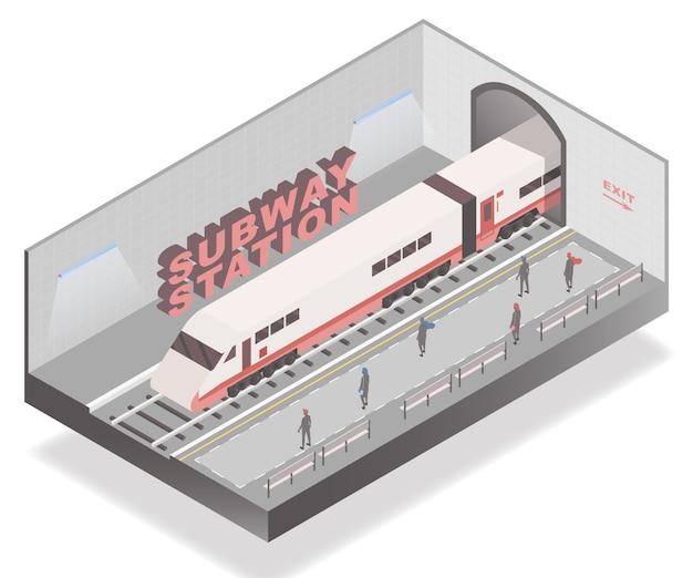 Passengers waiting on subway station Premium Vector