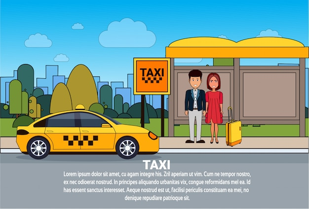 Passengers waiting for taxi car on cab station city transport service Premium Vector