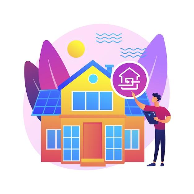 パッシブハウスの抽象的な概念図。パッシブハウスの標準、暖房効率、エコロジカルフットプリントの削減、省エネ技術、持続可能な住宅。 無料ベクター