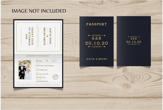 Passport Style Wedding Invite Premium Vector