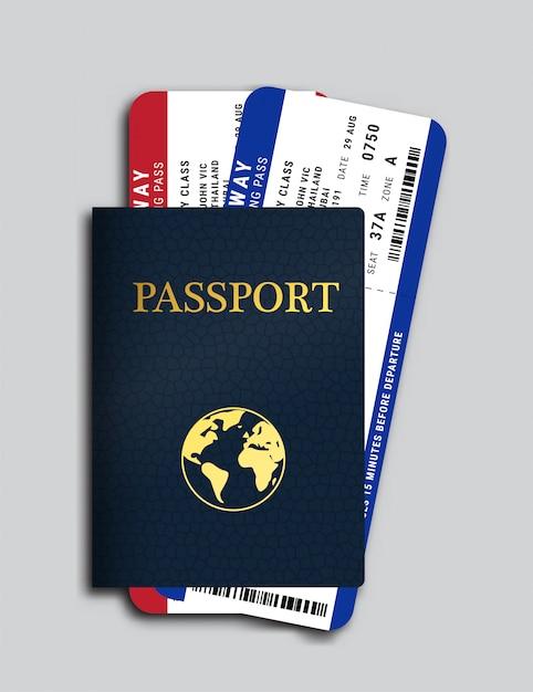 Passport with airplane tickets inside Premium Vector