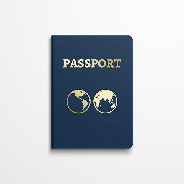 Passport with gold globe earth emblem on cover. Premium Vector