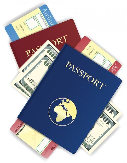 Passport with money and airline ticket vector illustration Premium Vector