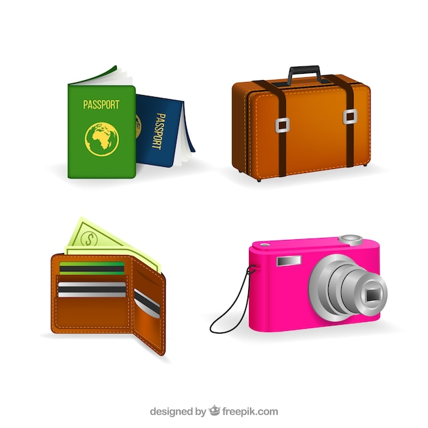 Passport with other travel items