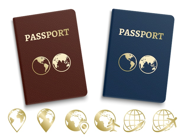 Passports international id and golden navigation and travel icons Premium Vector