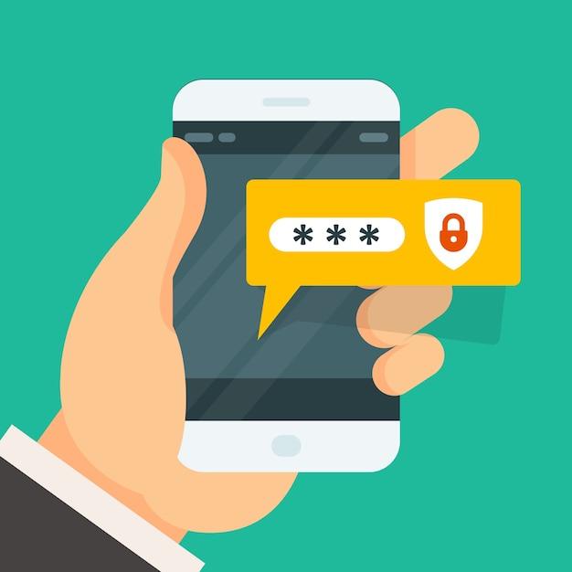 スマートフォンでのパスワード入力-スマートフォンログイン Premiumベクター