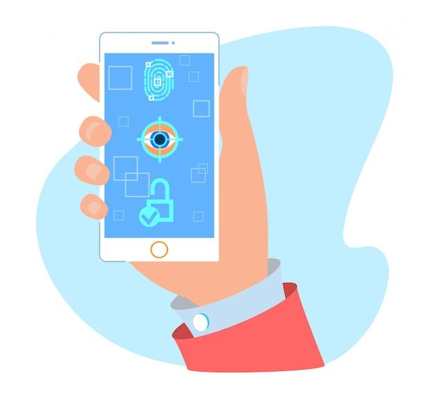 Password, fingerprint and face unlock mobile app Vector