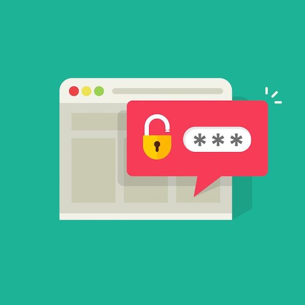 Password notification bubble with open lock in browser widow illustration Premium Vector