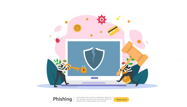Password phishing attack concept landing page template Premium Vector