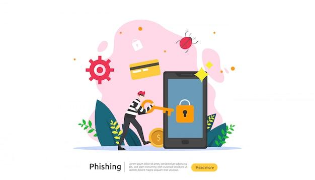 Password phishing attack concept landing page template Premium Vector