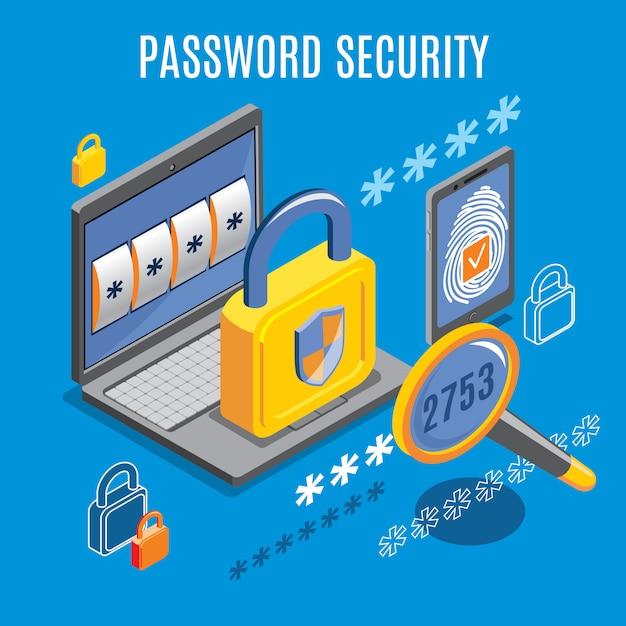 Sicurezza password isometrica Vettore gratuito