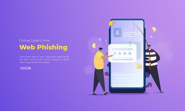 Password theft web phishing illustration on mobile concept Premium Vector