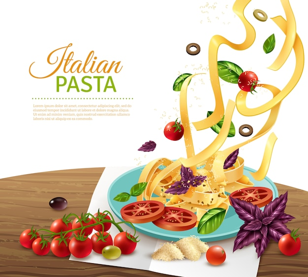 Pasta concept poster Free Vector