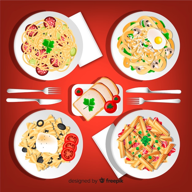 Pasta dishes collection Free Vector