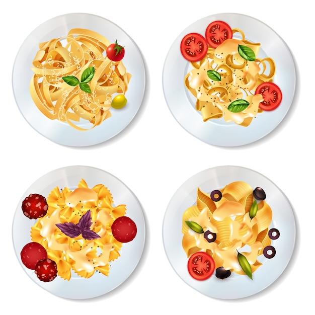 Pasta dishes set Free Vector