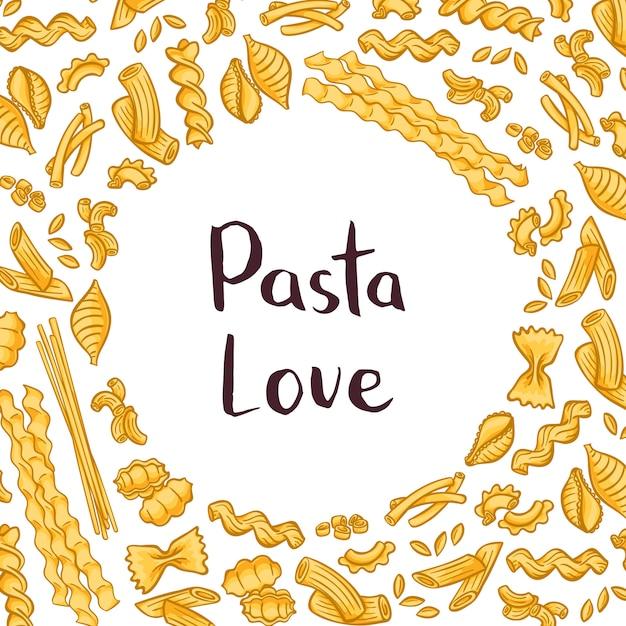 Pasta elements with plain space for text in center. italian pasta design, macaroni and spaghetti Premium Vector