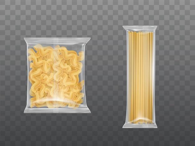 透明なパッケージのパスタは、乾燥マカロニスパゲッティを設定 無料ベクター