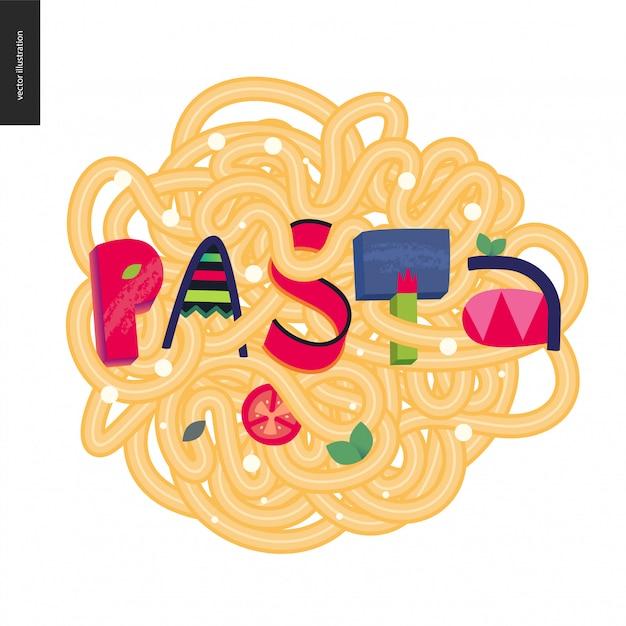 Pasta in the lettering Premium Vector