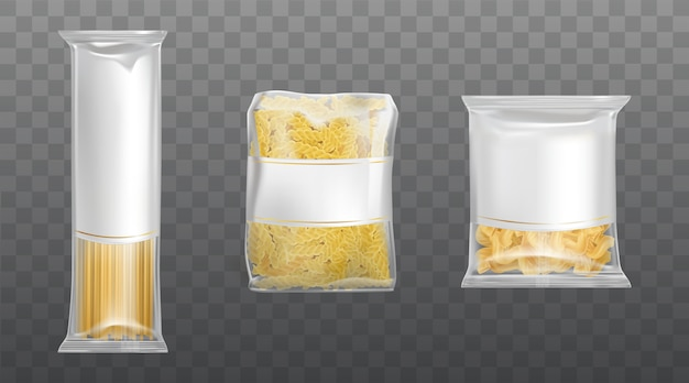 Pasta in limpid package set dry macaroni spaghetti Free Vector