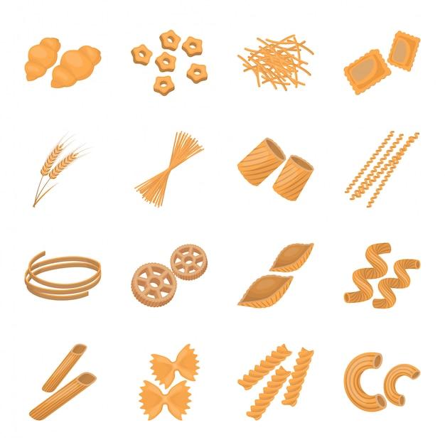 Паста пищи иллюстрации. итальянские макароны мультфильм установить значок. изолированные мультфильм установить значок итальянская паста. Premium векторы