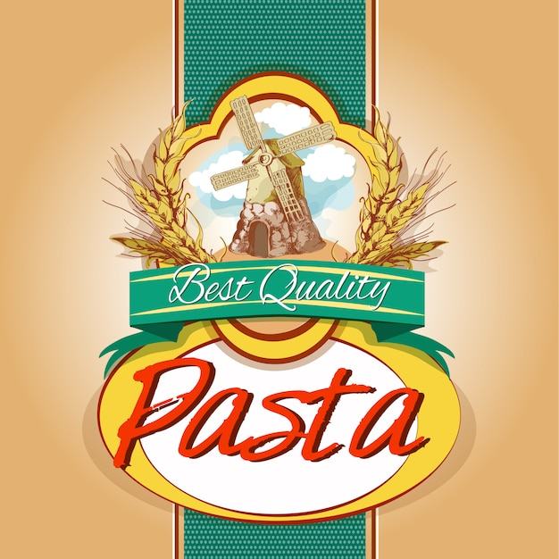 Pasta pack label Free Vector