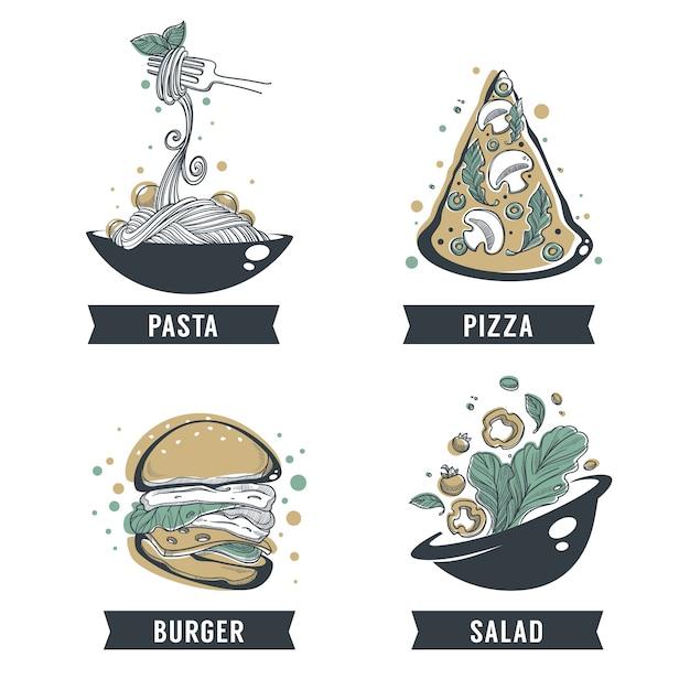 Паста, пицца, салат и бургер, рисованный эскиз с буквенной композицией для логотипа yout, эмблемы, этикетки Premium векторы