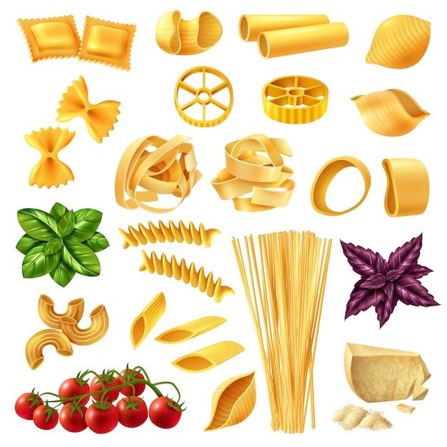 Pasta realistic set Free Vector