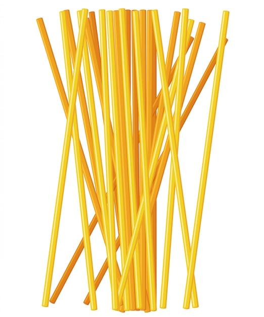 フォークにパスタロール。フォークシルエットのイタリアンパスタ。黄色の背景にスパゲッティと黒のフォーク。スパゲッティとフォークを持っている手。 Premiumベクター