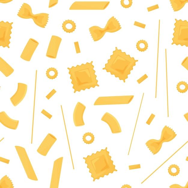 パスタのシームレスなパターン。さまざまな種類のイタリアンパスタ。スパゲッティ、ラビオリ、ペンネ、ファルファッレ、ヌードルマカロン Premiumベクター