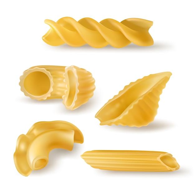 Tipi di pasta e forme realistiche Vettore gratuito