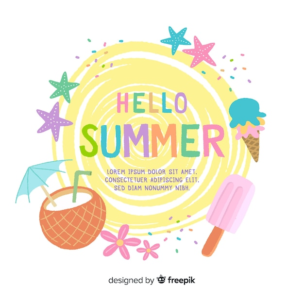 Paste color summer background Free Vector