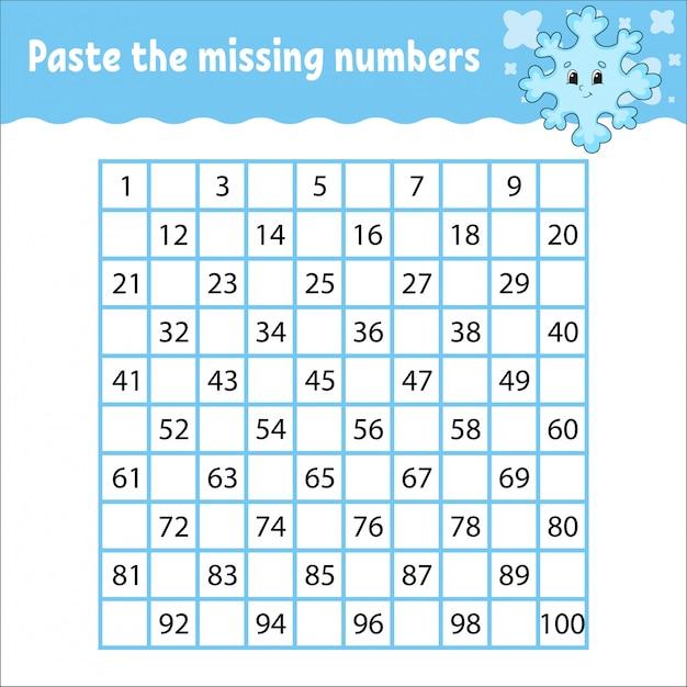 Paste the missing numbers worksheet Premium Vector