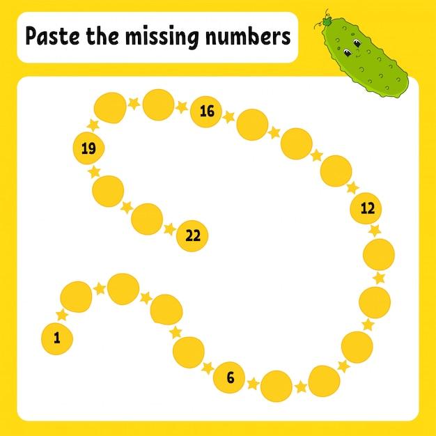 Paste the missing numbers. Premium Vector