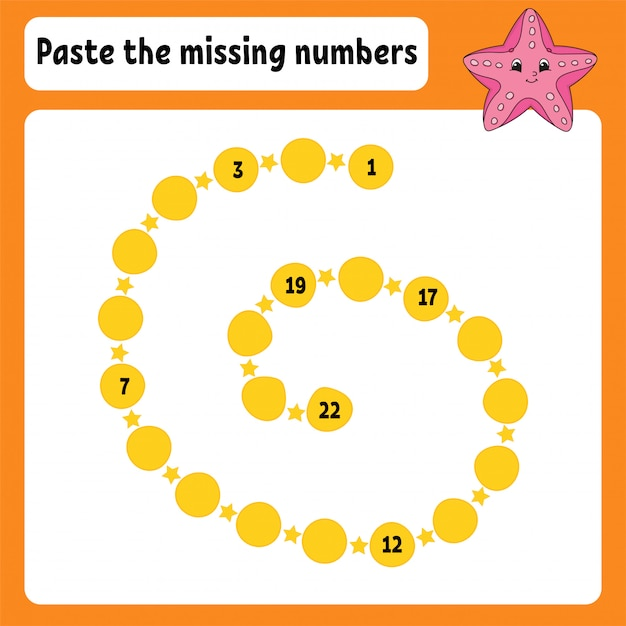 Paste the missing numbers. Premium Vector