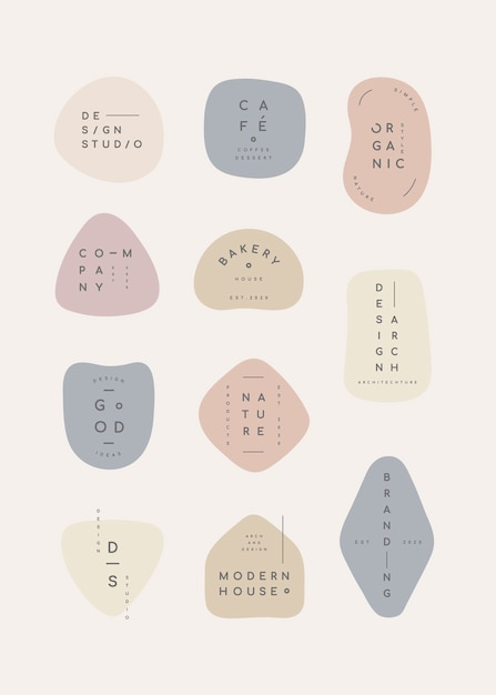 Pastel badge set Free Vector