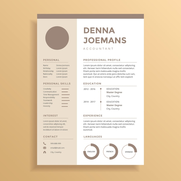 color on resume pastel brown professional resume cv design vector 1242