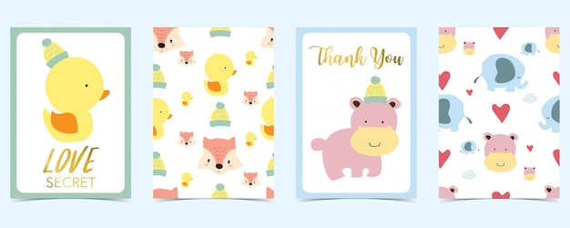 Pastel card with duct,fox,heart Premium Vector