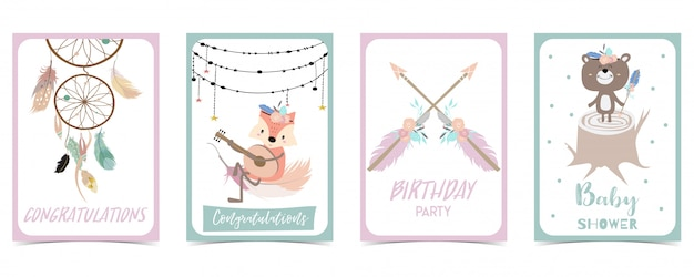 Pastel card with feather Premium Vector