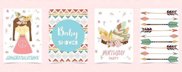 Pastel card with girl Premium Vector