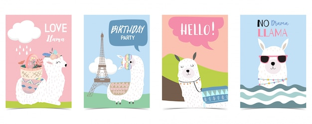 Pastel card with llama Premium Vector