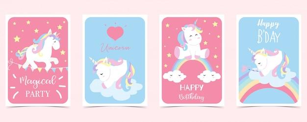 Pastel card with unicorn Premium Vector