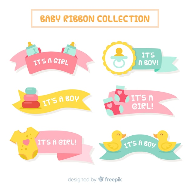 Pastel color baby ribbon collection Free Vector