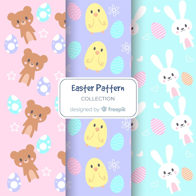 Pastel color easter animals patterns Free Vector