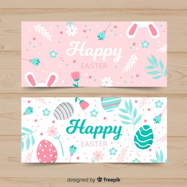 Pastel color easter banner Free Vector
